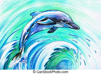 Dolphin - Jumping blue dolphin. Picture I have created with ...