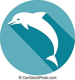 dolphin jumping flat icon