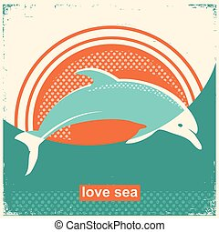 Dolphin jumping in sea.Vector vintage illustration on old texture