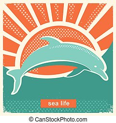 Dolphin jumping in sea.Vector vintage poster illustration in flat style