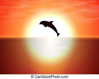 Dolphin jumping over the water of the sunset sun