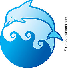 dolphin jumping symbol (dolphin label, dolphin sign, dolphin...