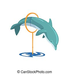 Dolphin jumping through a ring, sea animal performing in public in dolphinarium vector Illustration on a white background
