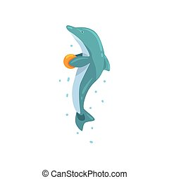Dolphin, jumping with ball, sea animal performing in public in dolphinarium vector Illustration on a white background