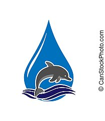 Dolphin jumps out of the waves against the background of a drop of water. Logo, logo, or sticker for a logo, website, or app