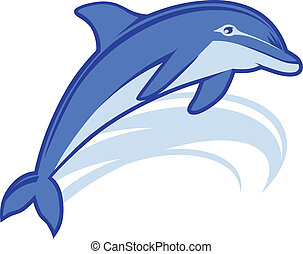 Dolphin Mascot - An icon of a blue dolphin leaping with a...