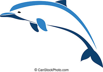 Dolphin on white background, vector