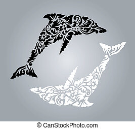 Dolphin pattern decoration - Nice, clean and detail vector, ...
