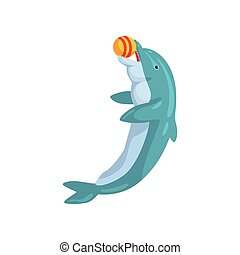 Dolphin, playing with ball, sea animal performing in public in dolphinarium vector Illustration on a white background