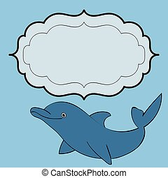 Dolphin sea animal frame text