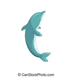 Dolphin sea animal jumping vector Illustration on a white background