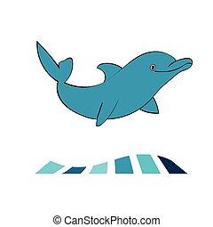 Dolphin sea animal silhouette .