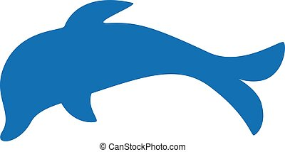Dolphin silhouette, dolphinaria logo. Premium vector.