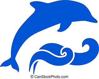 Dolphin Silhouette - Vector Blue dolphin and waves ...