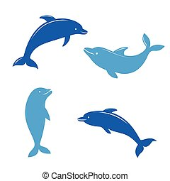 Dolphin silhouettes on the white background.