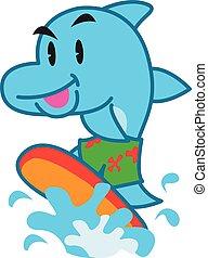 Dolphin surfing vector art