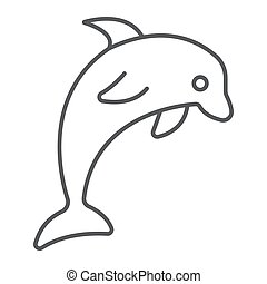 Dolphin thin line icon, animal and underwater, aquatic sign vector graphics, a linear pattern on a white background, eps 10.