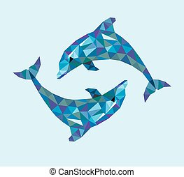 Dolphin triangle low polygon style.