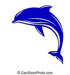 Dolphin. Vector illustration, flat style. Isolated on white.