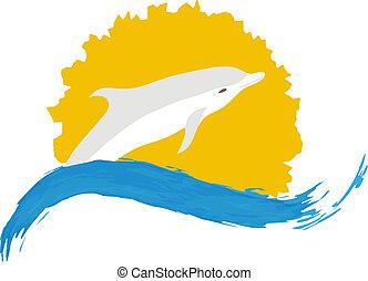 Dolphin vector illustration, isolated logo on white