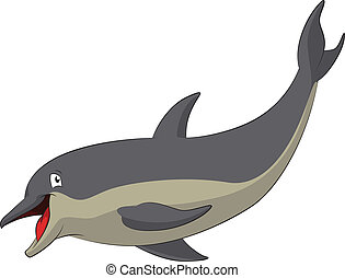 Dolphin - Vector image of funny cartoon smiling dolphin
