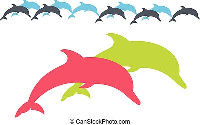 Dolphin. Vector silhouette on a white background.