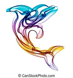 Dolphin vector silhouette on colored background.