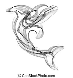 Dolphin vector silhouette on white background.
