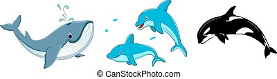 Dolphin, Whale and Killer Whale Fish cartoon set collection Vector illustration