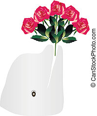 Dolphin with a bouquet of roses