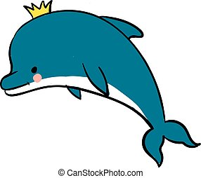 Dolphin with crown, illustration, vector on white background.