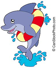 Dolphin with inflatable ring - isolated illustration.