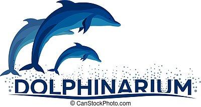 Dolphinarium. Dolphin logo. Banner Vector flat illustration