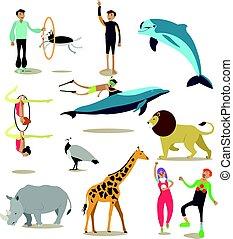 dolphinarium, set, iconen, circus, plat, dierentuin, vector, karakters