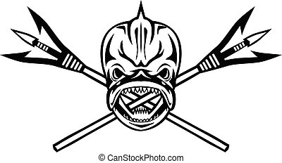 dolphinfish-skull-front-crossed-spearfishing-spear-retro-bw-cut