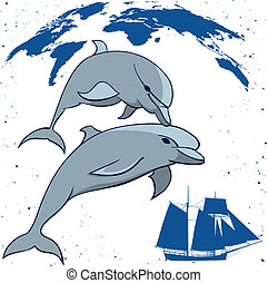 dolphins and  tall ship