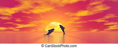 Dolphins by sunset - 3D render