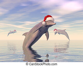 Dolphins celebrating christmas in the ocean - 3D render