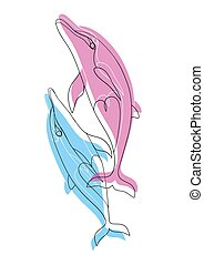 dolphins., couple, love., automne, blue-pink, dauphins