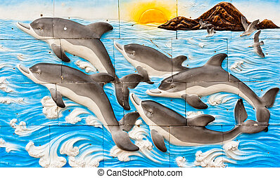 Dolphins drawing on the wall