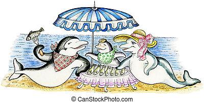 Dolphin`s family on vacation