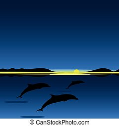 Dolphins family sea animal landscape