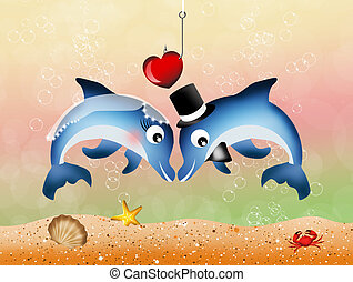 dolphins in love - Wedding of dolphins