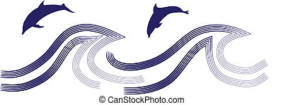 Dolphins jumping through a wave