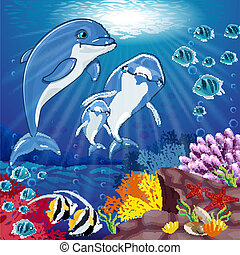 Dolphins on the bottom of the sea - Dolphins on sea...