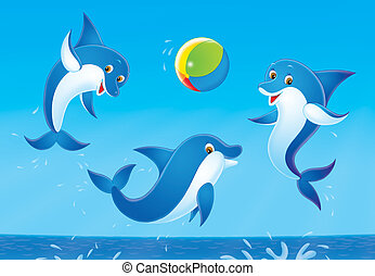 dolphins - Dolphins jumping out from water play with a...