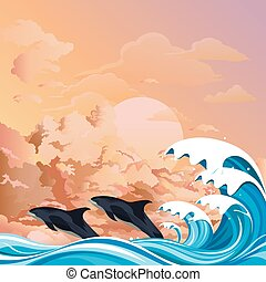 Dolphins surfing the waves at dawn - Dolphins or porpoises ...