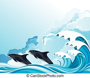 Dolphins surfing the waves - Dolphins or porpoises leaping ...