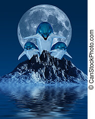 Dolphins - This image shows 3 generated dolphins with moon...