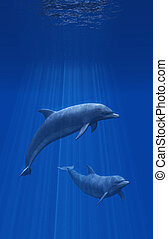 Dolphins Undersea - 3D render of two dolphins undersea.